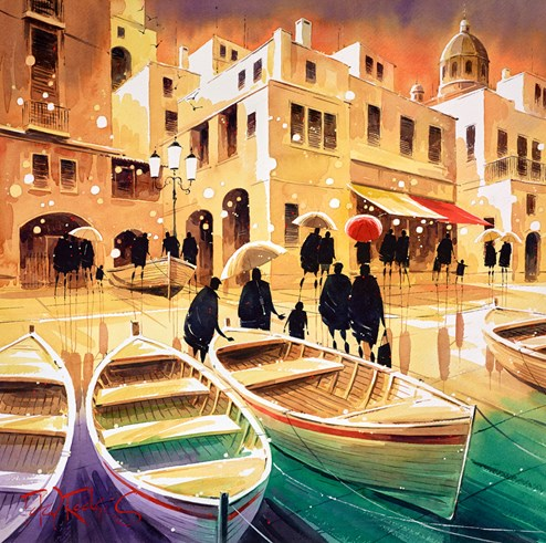 Harbour Conversation Italy by Peter J Rodgers - Original Painting on Paper